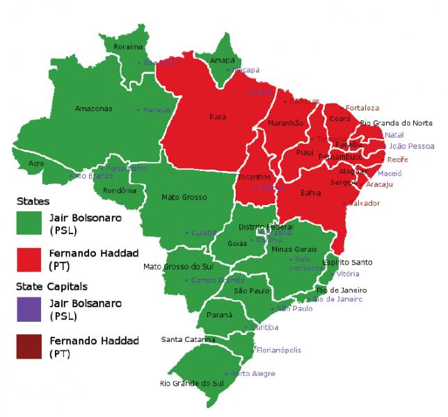 2018년 브라질 대선 후보자별 승리 지역